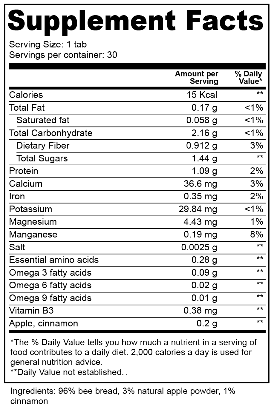 Apple and cinnamon bee bread pastilles nutritional facts