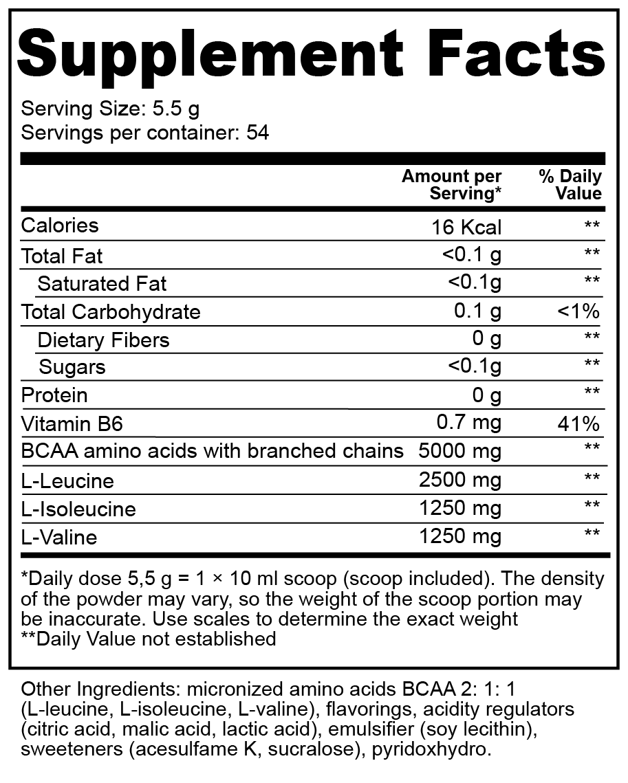 BCAA 2:1:1 nutritional facts